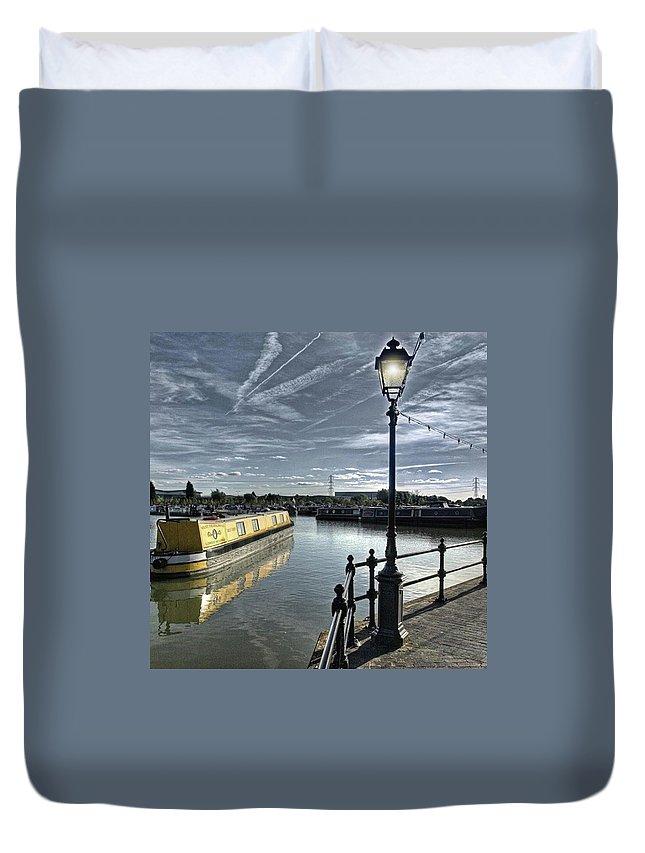 Nature Duvet Cover featuring the photograph Narrowboat Idly Dan At Barton Marina On by John Edwards