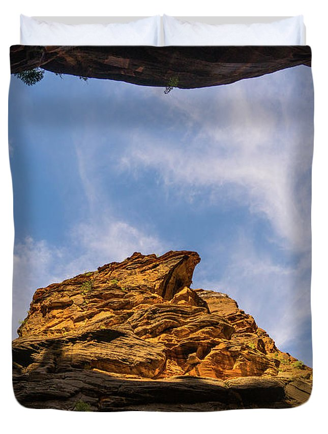 Utah Duvet Cover featuring the photograph Narrows Sky Zion National Park Utah by Lawrence S Richardson Jr