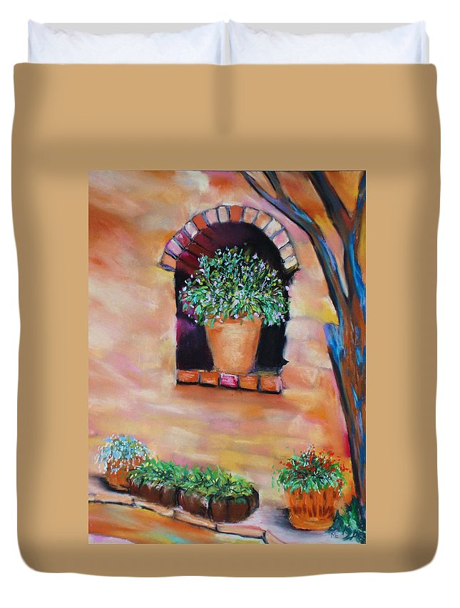 Courtyard Duvet Cover featuring the painting Nash's Courtyard by Melinda Etzold