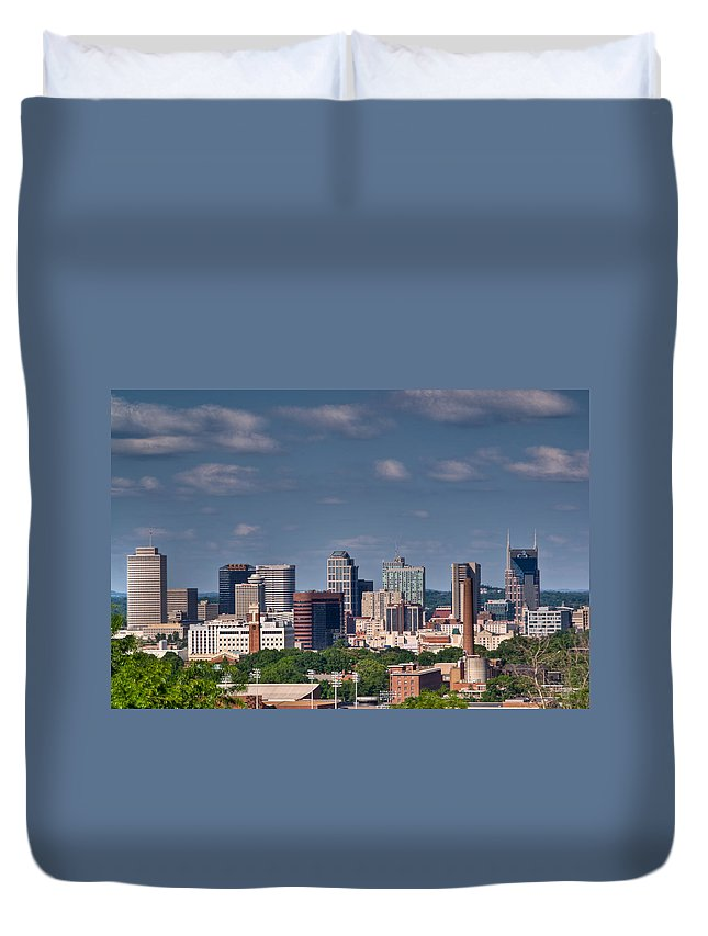 Nashville Duvet Cover featuring the photograph Nashville Skyline 1 by Douglas Barnett