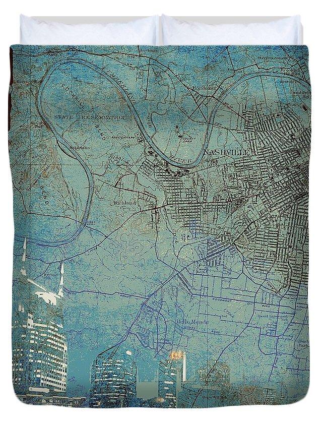 Brandi Fitzgerald Duvet Cover featuring the digital art Nashville Skyline Map by Brandi Fitzgerald