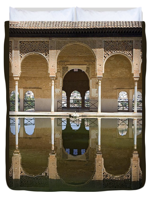 Moorish Duvet Cover featuring the photograph Nasrid Palace Arches Reflection At The Alhambra Granada by Mal Bray