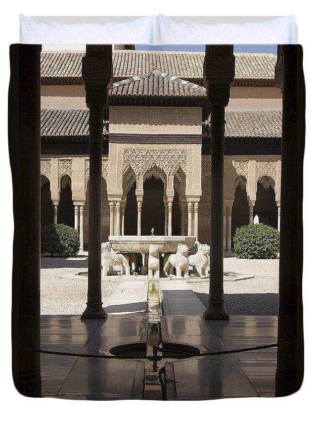 Alhambra Duvet Cover featuring the photograph Nasrid Palaces Alhambra Granada Spain Europe by Mal Bray