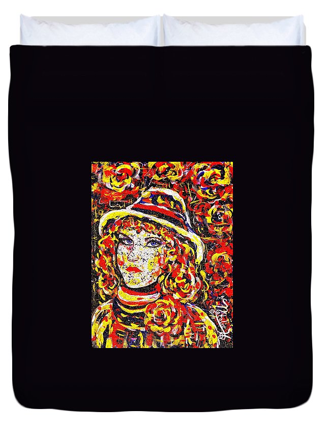 Woman Duvet Cover featuring the painting Nat With The Hat by Natalie Holland