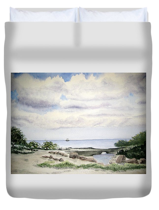 Natalie Duvet Cover featuring the painting Natalie's Beach by Julia RIETZ