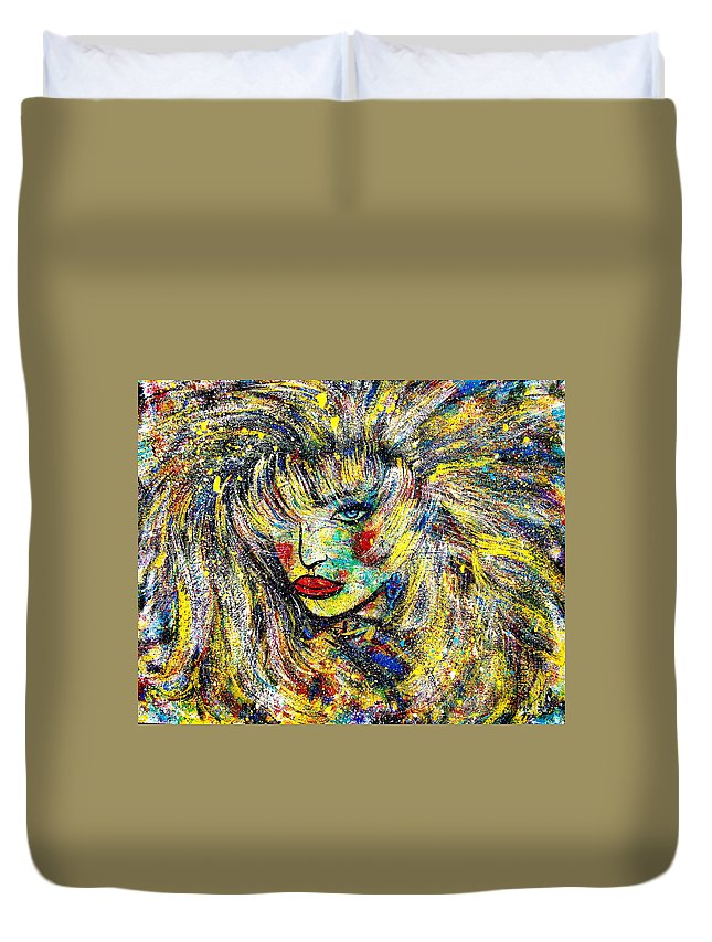 Portrait Duvet Cover featuring the painting Natalya by Natalie Holland