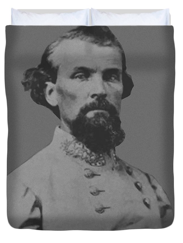 Nathan Bedford Forrest Duvet Cover featuring the painting Nathan Bedford Forrest by War Is Hell Store