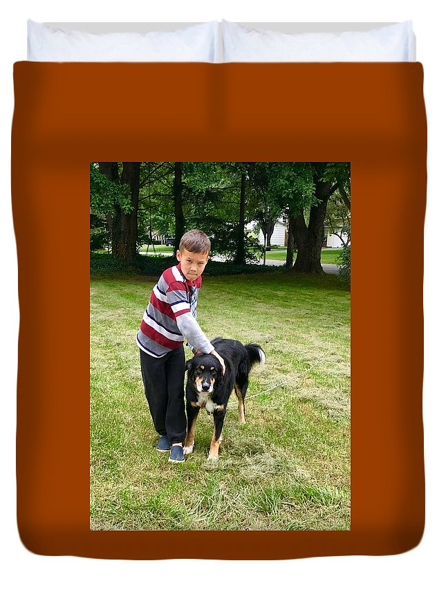Nathan Duvet Cover featuring the photograph Nathan Loves Bailey by Bryann Cole