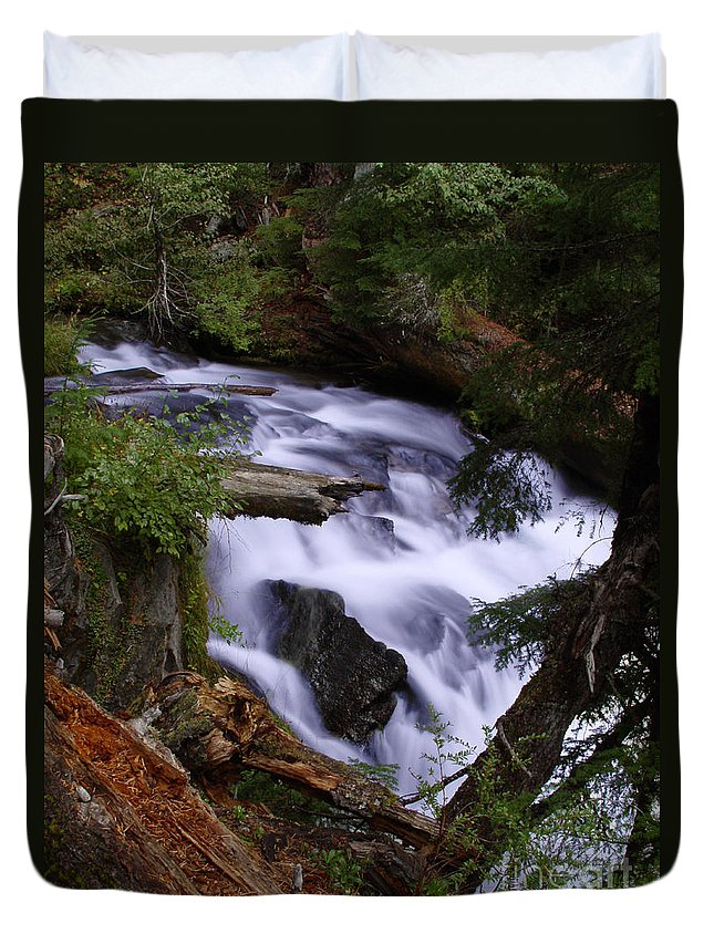 Waterfall Duvet Cover featuring the photograph National Creek Falls 03 by Peter Piatt