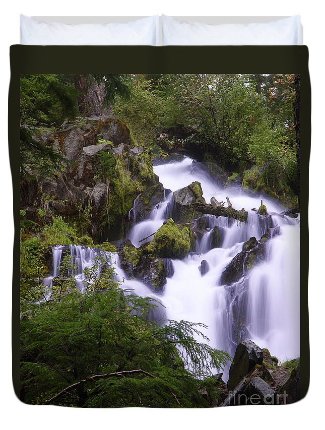 Waterfall Duvet Cover featuring the photograph National Creek Falls 05 by Peter Piatt