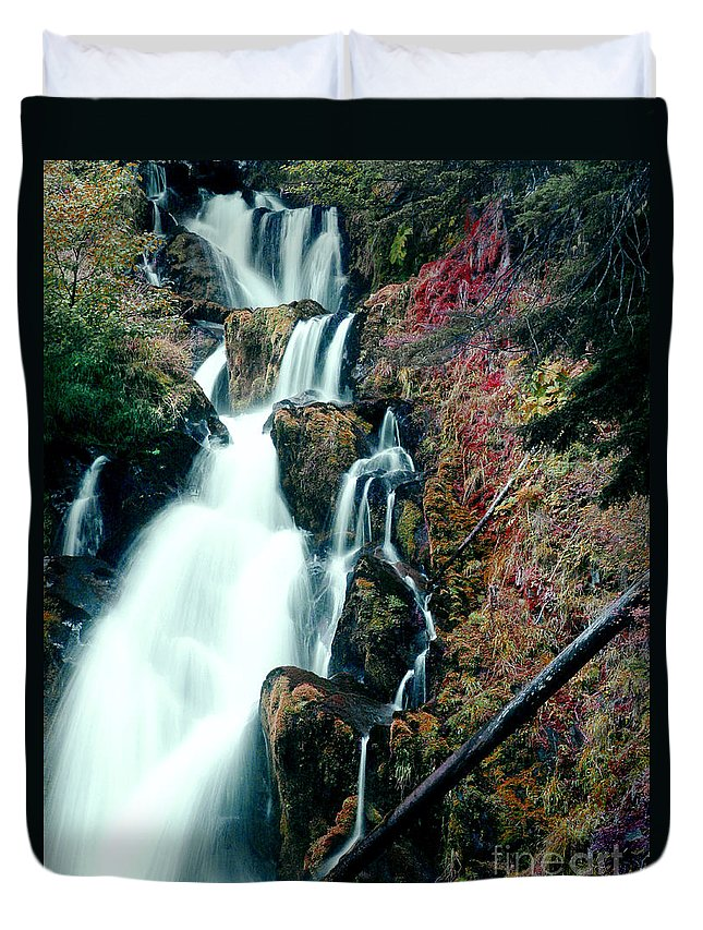 Waterfall Duvet Cover featuring the photograph National Creek Falls 07 by Peter Piatt