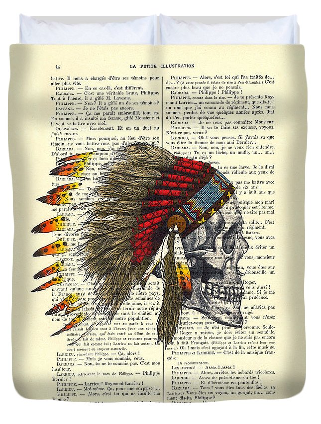 Native American Duvet Cover featuring the digital art Native American Skull by Madame Memento