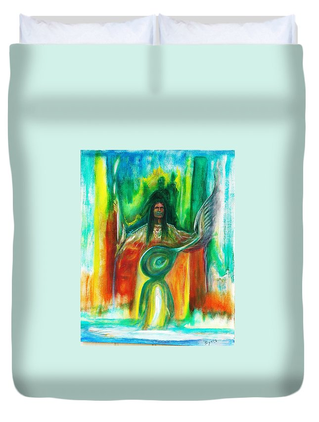 Native American Duvet Cover featuring the painting Native Awakenings by Kicking Bear Productions