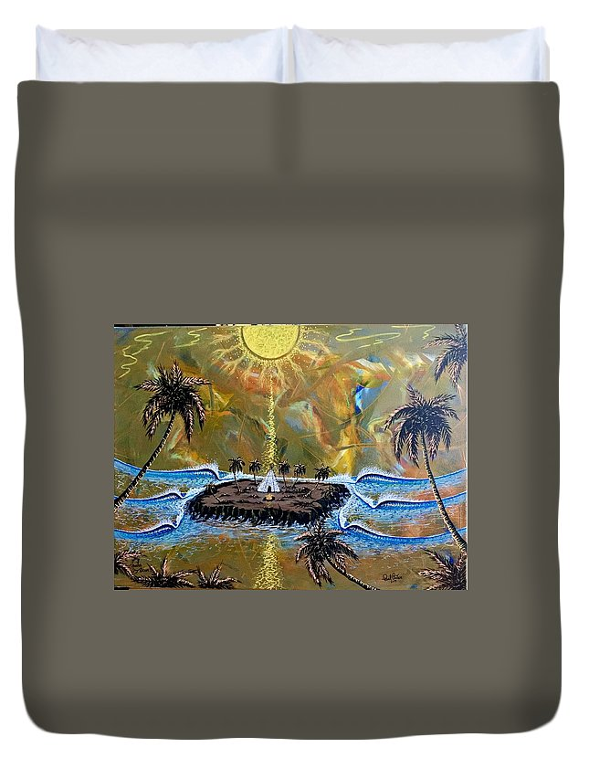 Native Duvet Cover featuring the painting Native Sunset Dream by Paul Carter