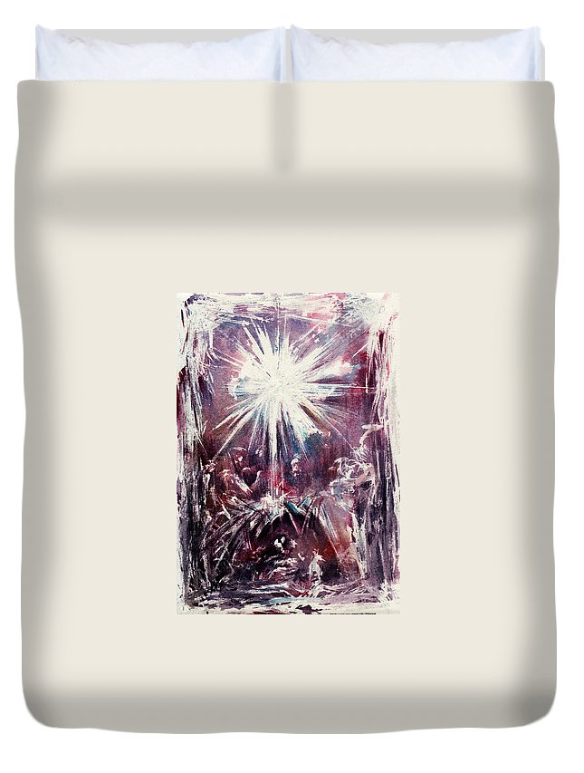 Nativity Duvet Cover featuring the painting Nativity 1 by Rachel Christine Nowicki