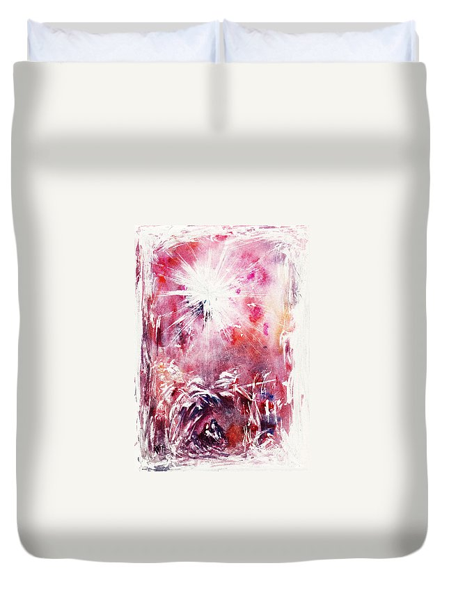 Nativity Duvet Cover featuring the painting Nativity 5 by Rachel Christine Nowicki