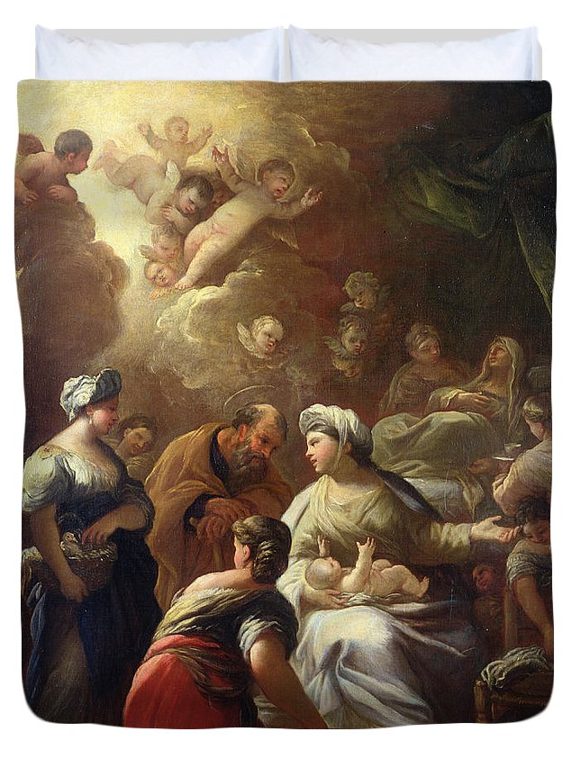 Nativity Duvet Cover featuring the painting Nativity by Luca Giordano