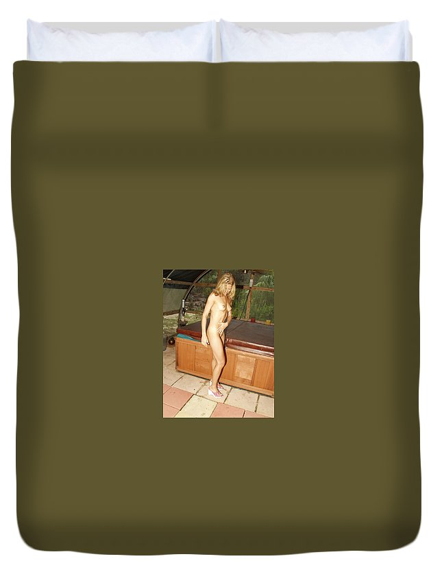 Natural Beauty Sexy Glamorous Exotic Natural Settings Blond Beauty Legs Duvet Cover featuring the photograph Natural Beauty 326 by Lucky Cole