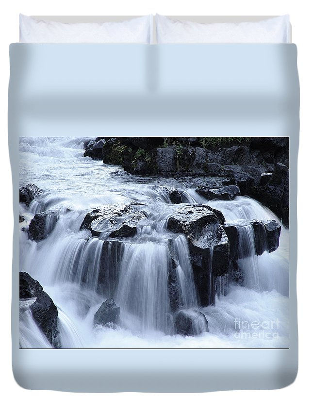 Waterfall Duvet Cover featuring the photograph Natural Bridges Falls 02 by Peter Piatt