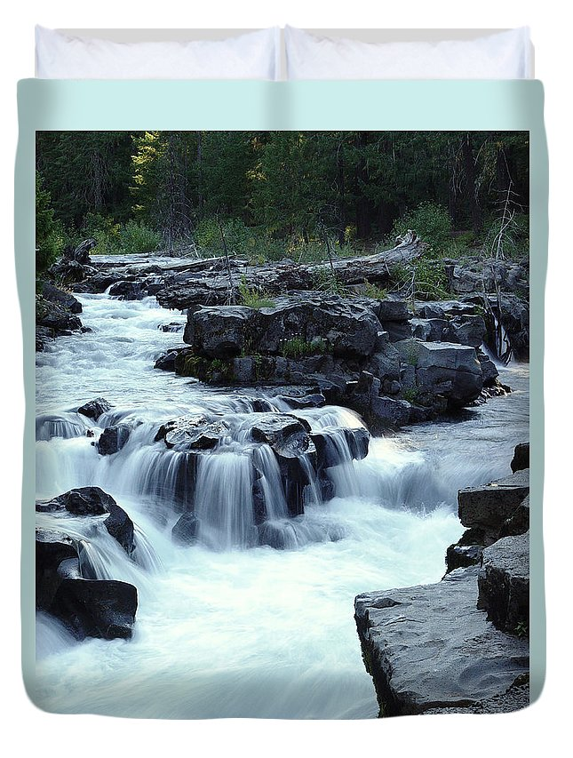 Waterfall Duvet Cover featuring the photograph Natural Bridges Falls 03 by Peter Piatt