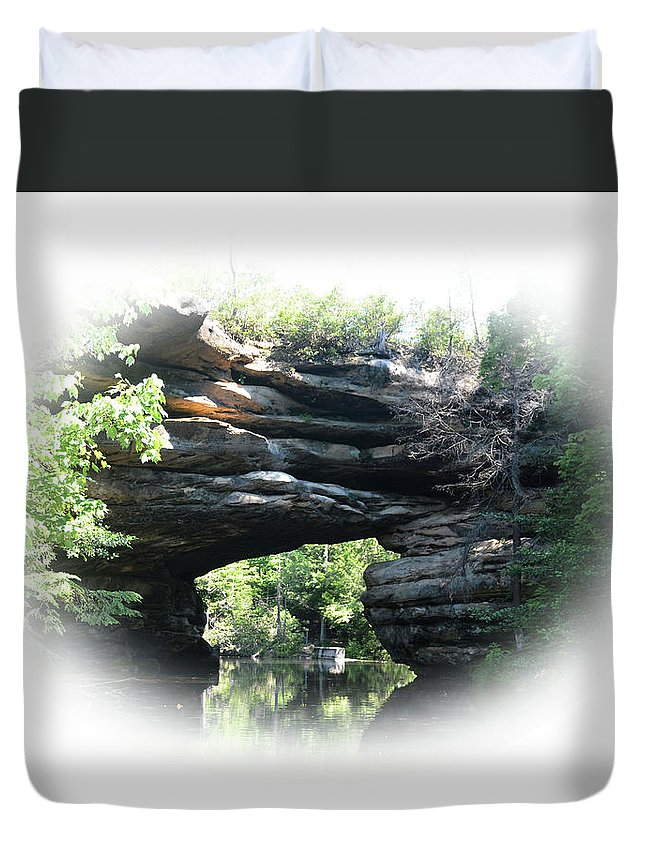 Mtns Duvet Cover featuring the photograph Natural Rock Bridge Looking Toward The Dam  by Mike Fairchild