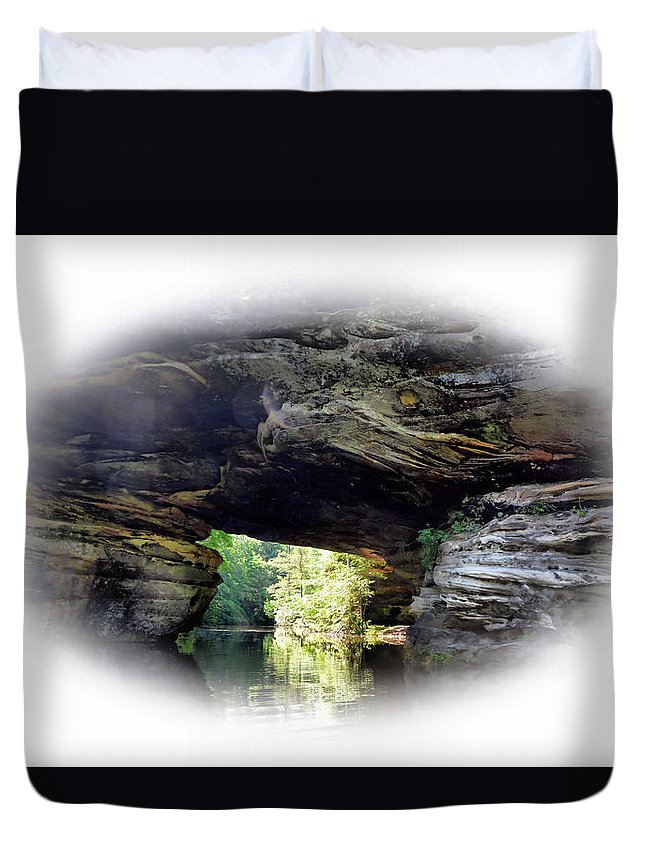 Mtns. Duvet Cover featuring the photograph Natural Rock Bridge Over Water by Mike Fairchild