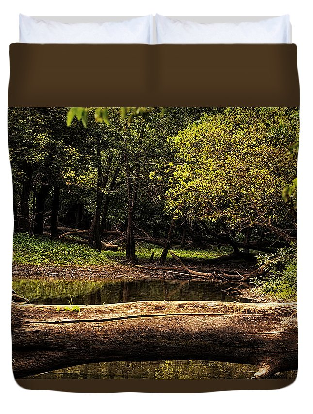 River Duvet Cover featuring the photograph Natural Seating By River by Thomas Woolworth