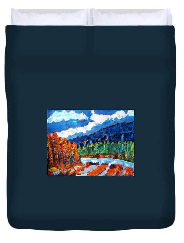 Mountains Duvet Cover featuring the painting Naturals by R B