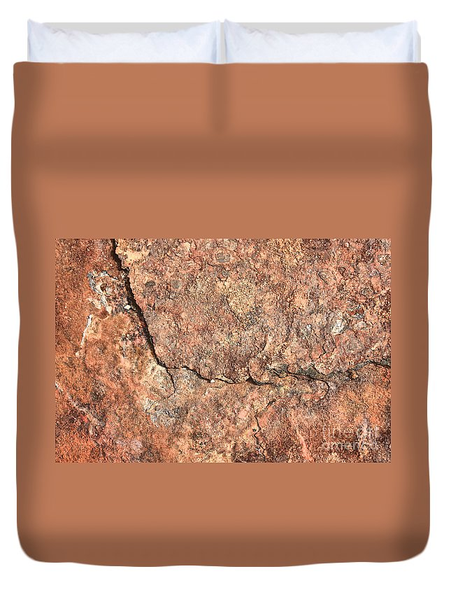 Nature Abstract Duvet Cover featuring the photograph Nature Abstract - Cracked by Carol Groenen