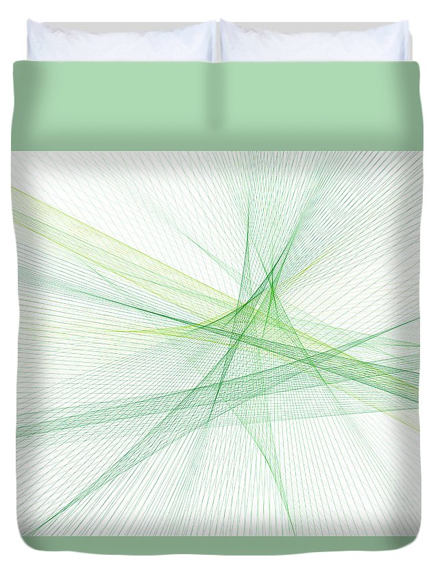 Abstract Duvet Cover featuring the digital art Nature Computer Graphic Line Pattern by Frank Ramspott