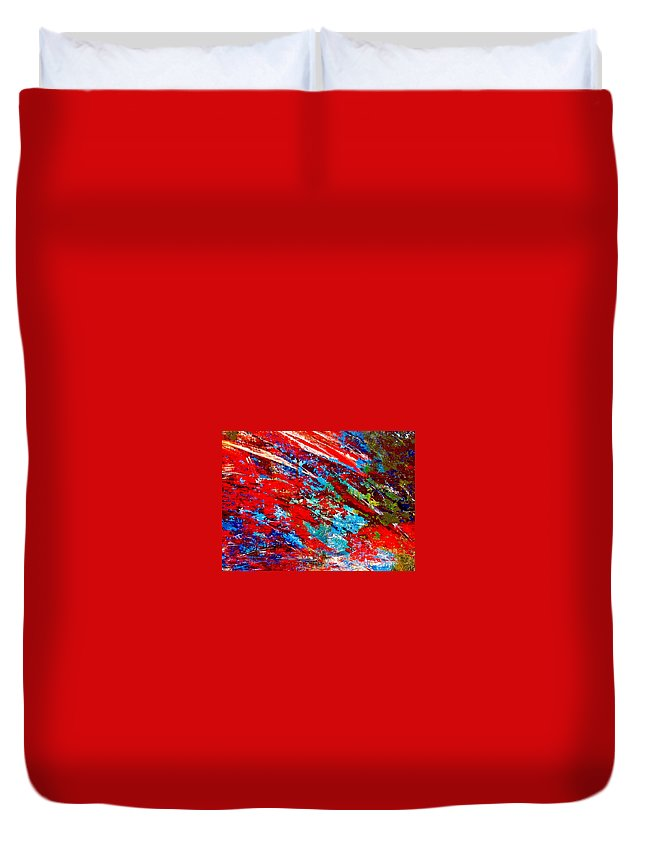 Abstract Duvet Cover featuring the painting Nature Harmony by Natalie Holland