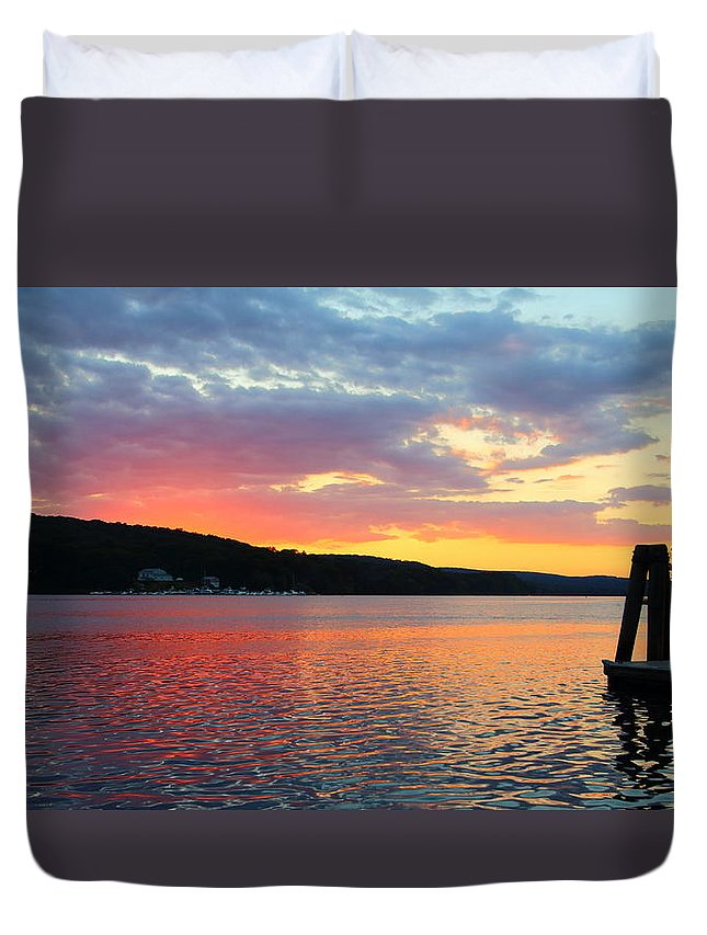 Landscape Duvet Cover featuring the photograph Nature Reflecting by Ursula Coccomo