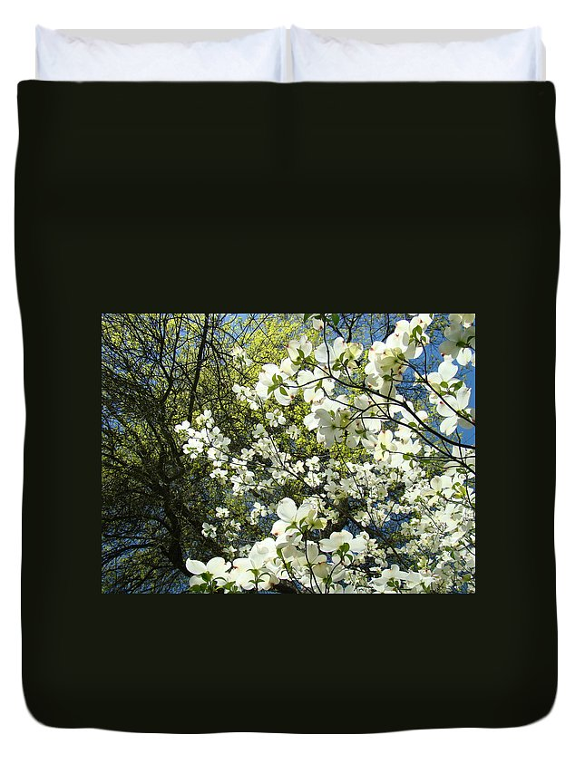 Dogwood Duvet Cover featuring the photograph Nature Tree Landscape Art Prints White Dogwood Flowers by Baslee Troutman