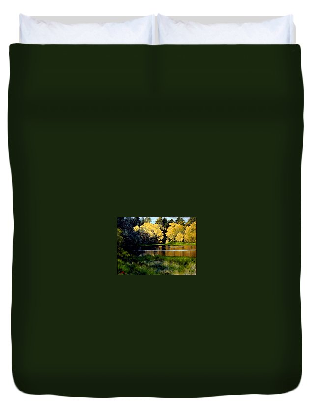 Landscape Duvet Cover featuring the painting Nature Walk by Jim Gola