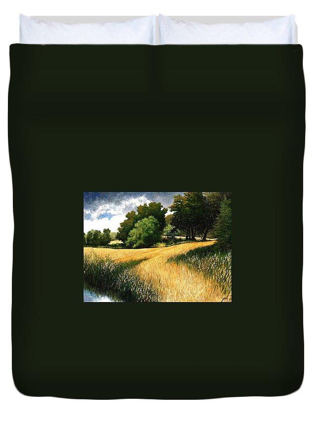 Landscape Duvet Cover featuring the painting Nature Walk Ridgefield Washington by Jim Gola