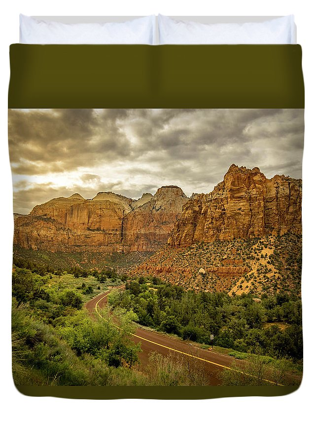 Landscape Duvet Cover featuring the photograph Natures Best In Zion by Justin Nagrassus