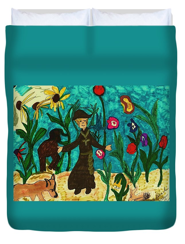 Garden With Animals And A Monk Duvet Cover featuring the mixed media Natures Bounty by Elinor Helen Rakowski