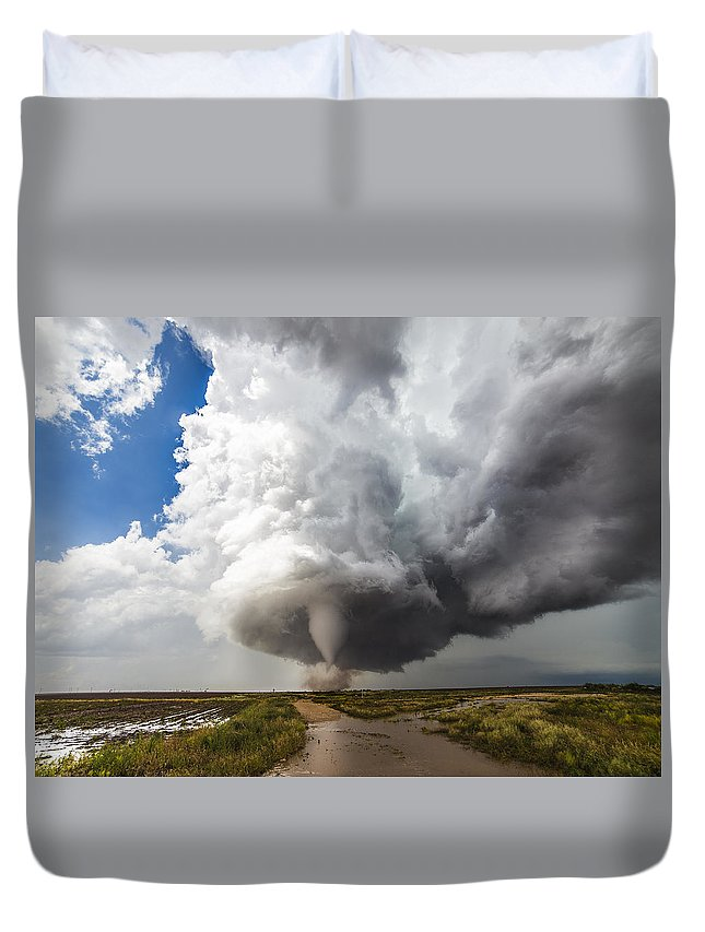 Sky Duvet Cover featuring the photograph Nature's Irony by Brandon Sullivan