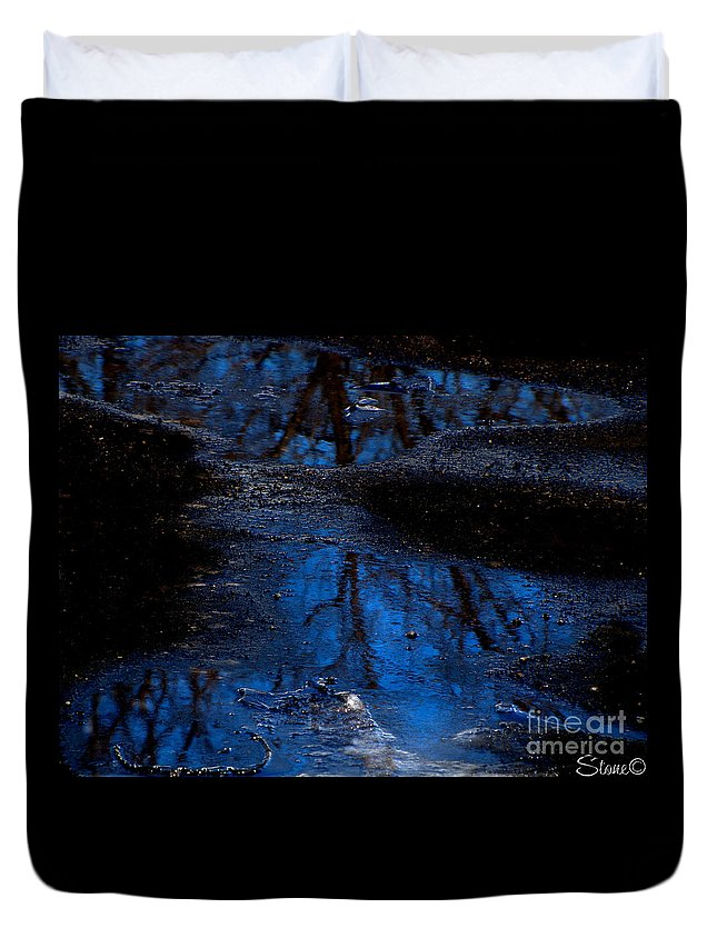 Blue Duvet Cover featuring the photograph Natures Looking Glass by September Stone