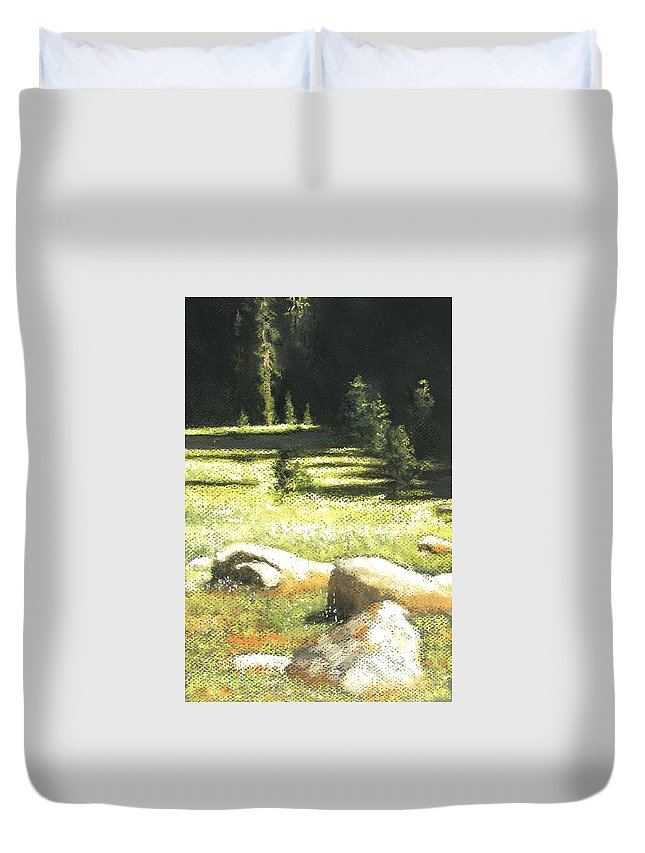 California Landscape Duvet Cover featuring the painting Nature's Pathway by Darlene Jaeger