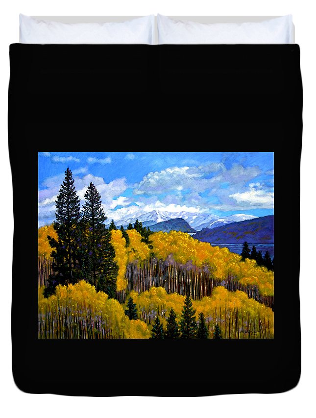 Fall Duvet Cover featuring the painting Natures Patterns - Rocky Mountains by John Lautermilch
