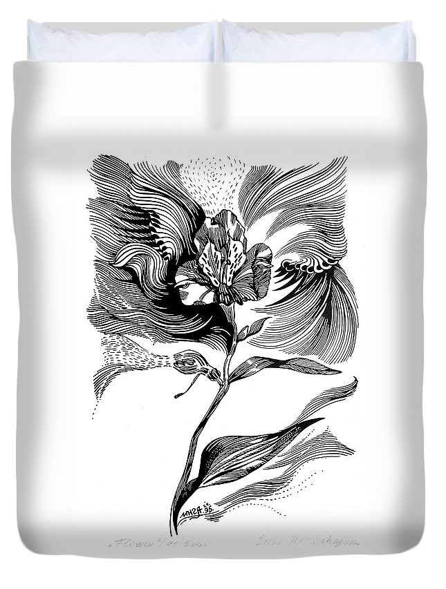 Inga Vereshchagina Duvet Cover featuring the drawing Nature's Waves by Inga Vereshchagina