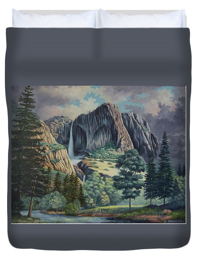 Landscape Duvet Cover featuring the painting Natures Wonder by Wanda Dansereau