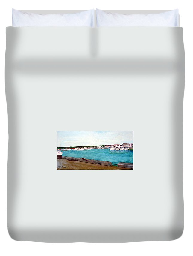 Naufrage Pei Duvet Cover featuring the painting Naufrage Harbour Pei by Richard Le Page