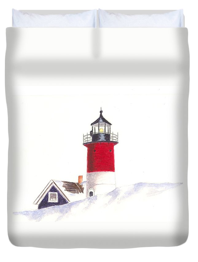 Lighthouse Duvet Cover featuring the painting Nauset Beach Lighthouse by Michael Vigliotti