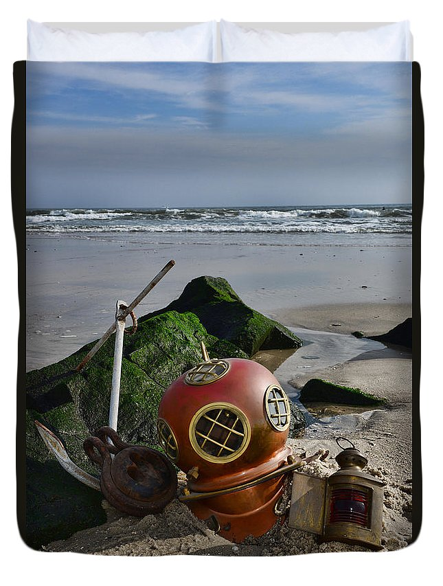 Paul Ward Duvet Cover featuring the photograph Nautical Collection Found On The Beach by Paul Ward