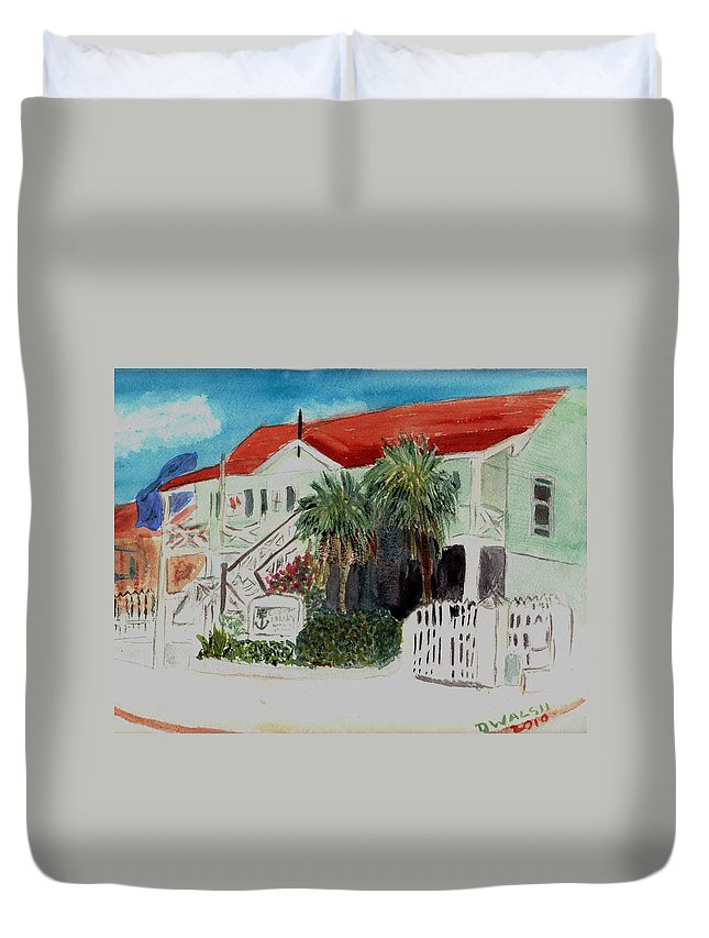 Nautical Duvet Cover featuring the painting Nautical Museum Georgetown by Donna Walsh