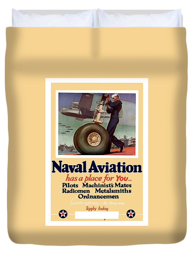 Navy Duvet Cover featuring the painting Naval Aviation Has A Place For You by War Is Hell Store