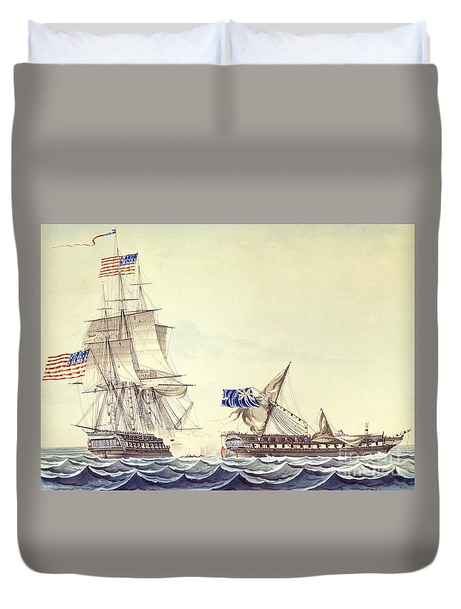 War Of 1812 Duvet Cover featuring the painting Naval Engagement Between The Uss Frigate Constitution And Hms Frigate Java by Montardier