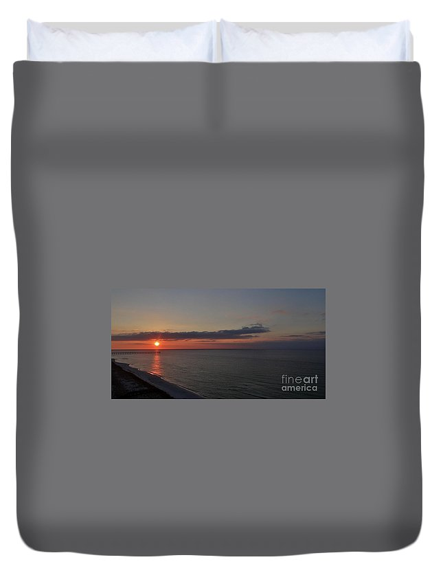 Sunset Duvet Cover featuring the photograph Navarre Beach Sunset by Deb Rassel